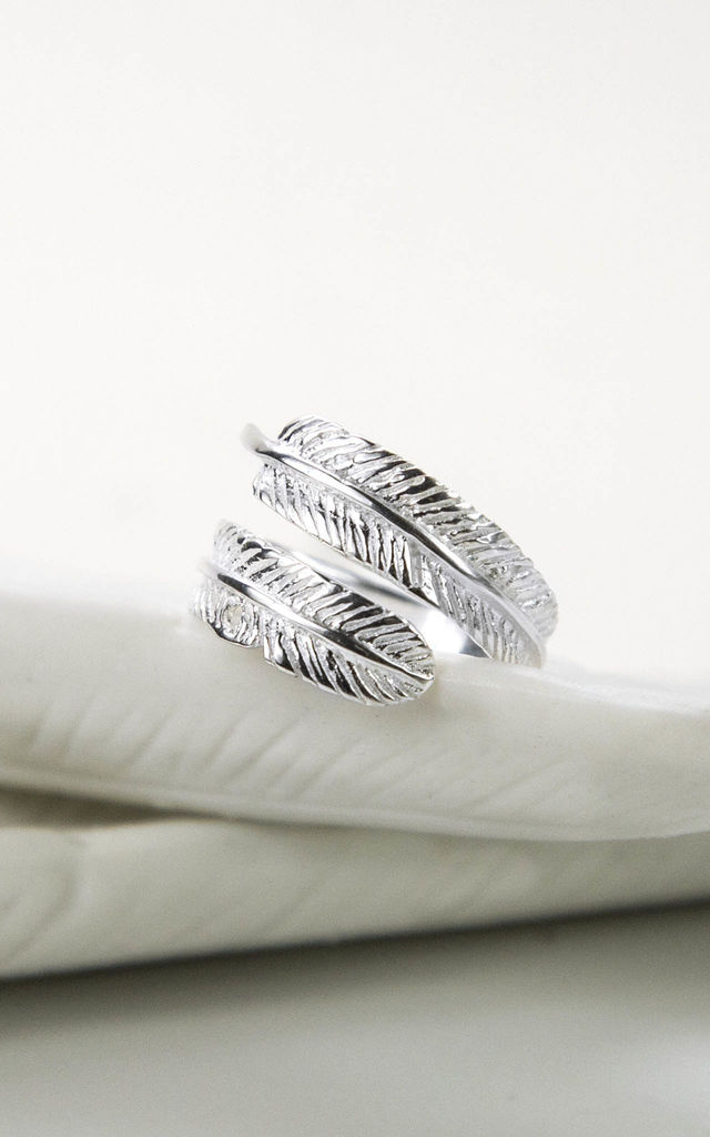 Sterling Silver Angelic Feather Ring by Martha Jackson Jewellery