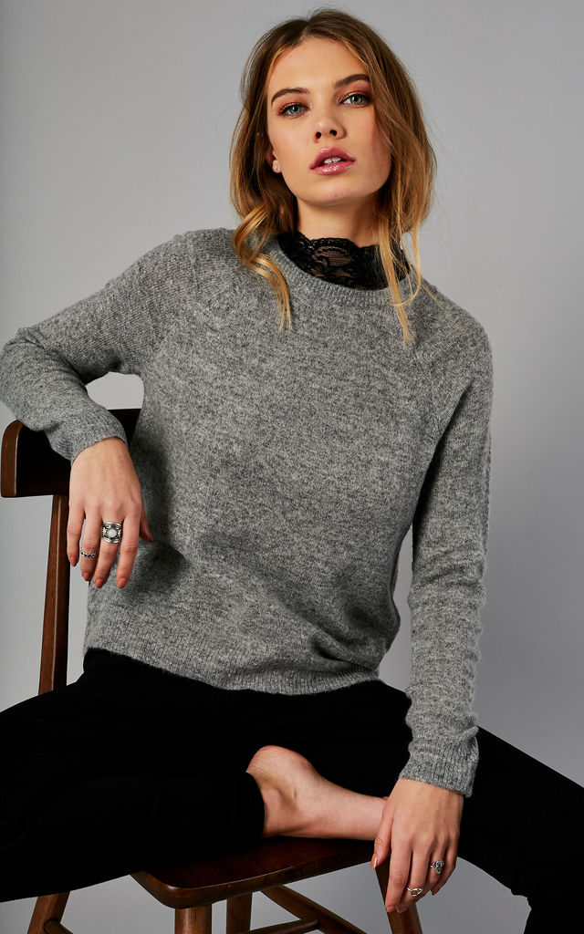 DARK GREY MELANGE LONG SLEEVE HIGH NECK PULLOVER by ONLY