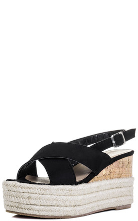 DUTCH COURAGE Platform Wedge Heel Espadrille Sandals Shoes - Black Suede Style by SpyLoveBuy