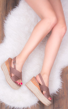 DUTCH COURAGE Platform Wedge Heel Espadrille Sandals Shoes - Brown Suede Style by SpyLoveBuy