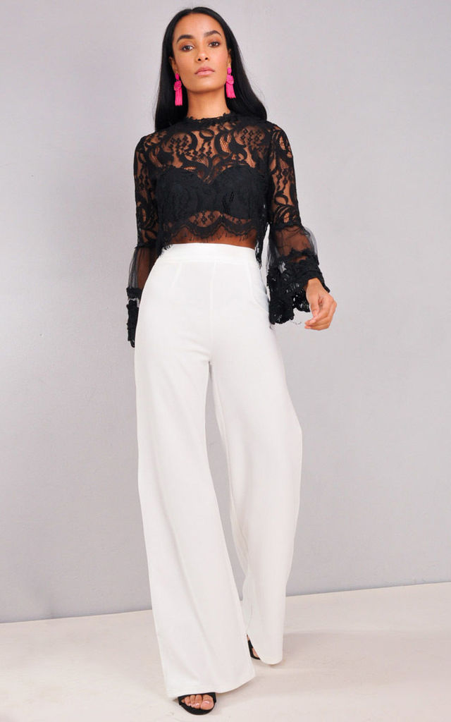 High Waisted Cream Wide Leg Palazzo Trousers White by LILY LULU FASHION