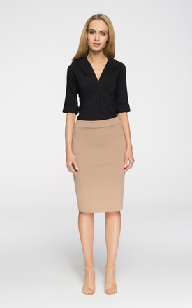 Cappucino,  Stretch knit, plain pencil skirt with an exposed, back zip. Unlined. by MOE