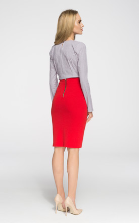 Red, Stretch knit, plain pencil skirt with an exposed, back zip. Unlined. by MOE
