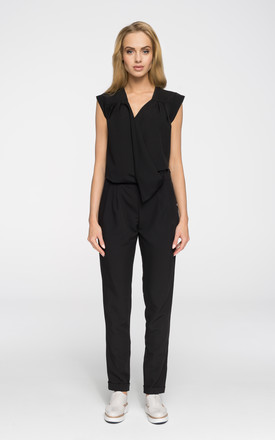 Black jumpsuit with asymmetric front by MOE
