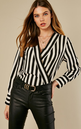 Stripe Lapel Collar Bodysuit by Bella and Blue