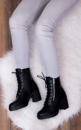 Rock It Lace Up Block Heel Ankle Boots Shoes   Black Leather Style by SpyLoveBuy Product photo