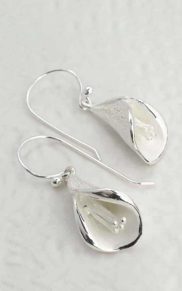 Sterling Silver Calla Lily Earrings by Martha Jackson Jewellery