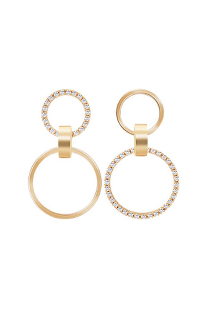 Cubic Double Hoop Earrings Gold by DOSE of ROSE