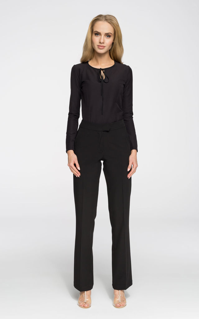 Black classic straight leg trousers with side pockets by MOE