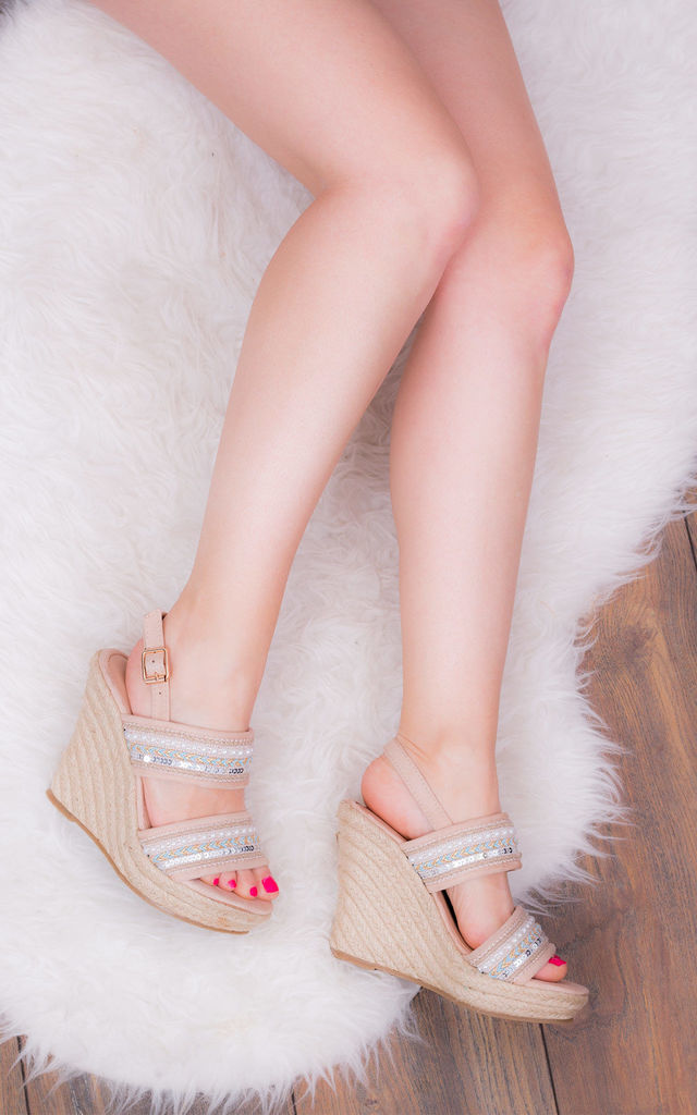 YADA YADA Adjustable Buckle Wedge Heel Sandals Shoes - Nude Suede Style by SpyLoveBuy
