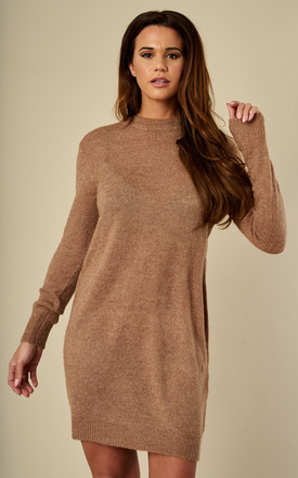 Ginger Snap Long Sleeve Wool Knitted Dress by Pieces