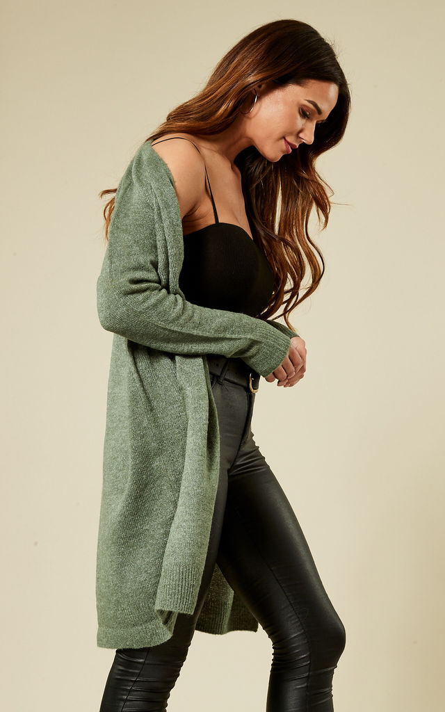 Sage Green Long Sleeve Wool Cardigan by Pieces