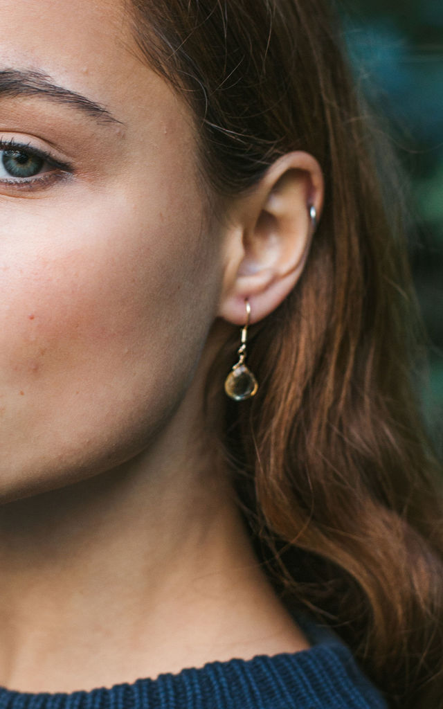 Citrine Teardrop Earrings in 14k Gold Fill. Yellow Gemstone Earrings. by Luna Tide