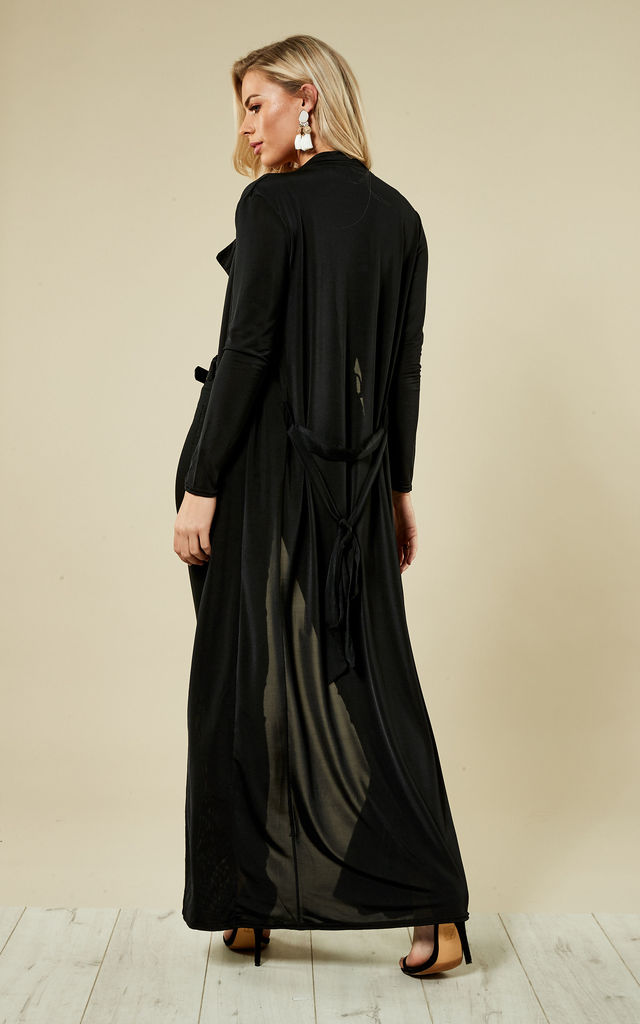 Black Slinky Maxi Duster Jacket by Lilah Rose
