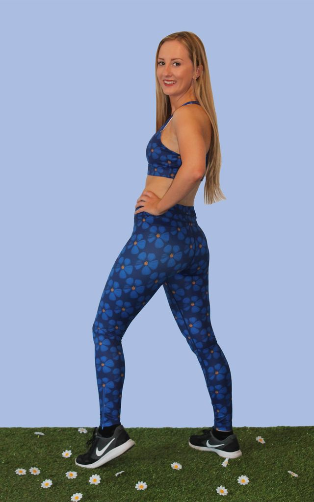 Blue Flower Print Full Length Leggings by Daisy & Co London