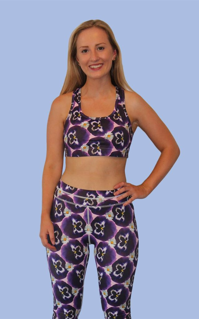 Pansy Print Racer Back Sports Bra by Daisy & Co London