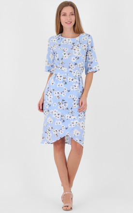 Crew Neck Wrap Front Floral Print Belted Tulip Midi Dress by MISSTRUTH