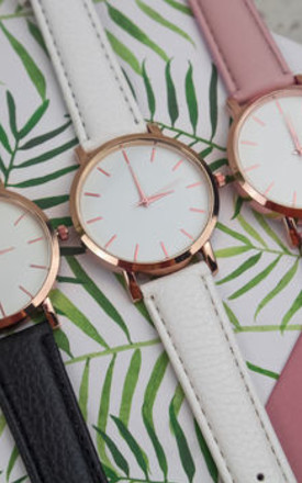 Rose Gold Simplistic White Watch by Arcus Accessories