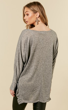 Grey Top With Side Split Ruffle Detail by Bella and Blue