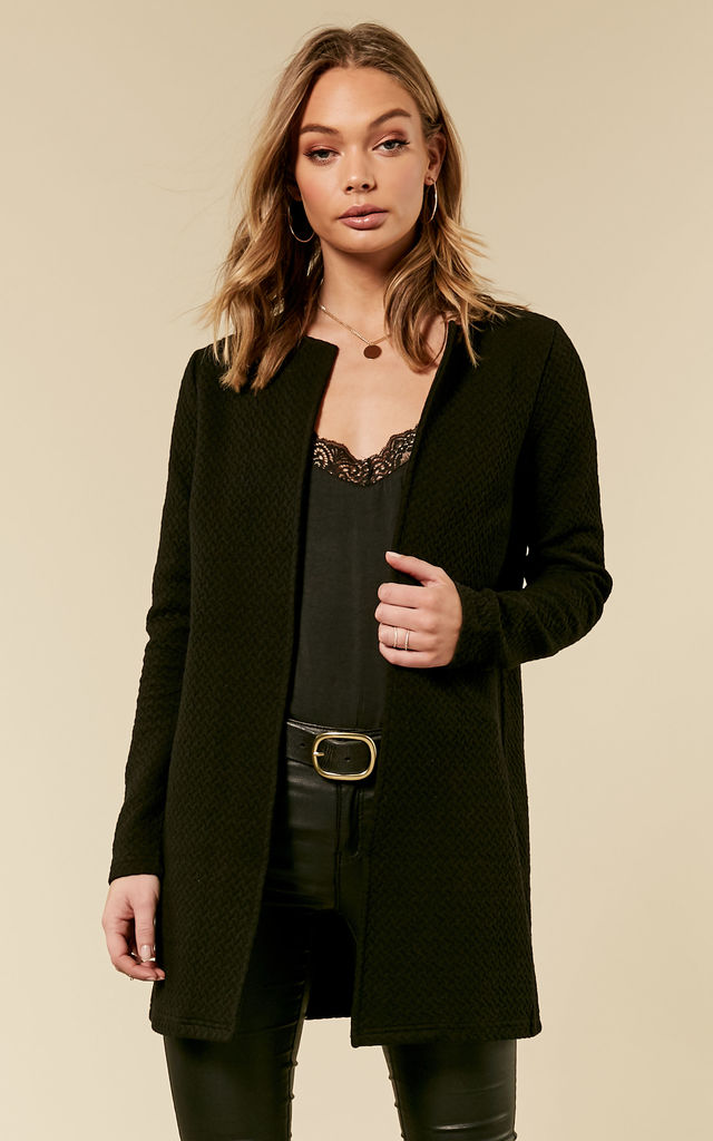 Black Long Quilted Jacket by VILA
