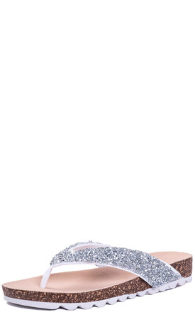 A LA CARTE Glitter Flip Flop Flat Sandals - Silver Leather Style by SpyLoveBuy