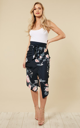 Navy Floral Tie Wrap Midi Skirt by Amy Lynn