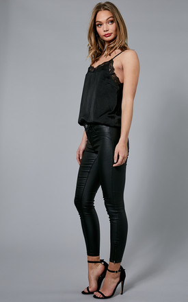 Black Leather Look Trousers With Zip Ankle Detail by ONLY