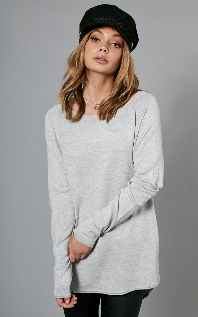 Light Grey Melange Long Sleeve Long Pullover Knit by ONLY