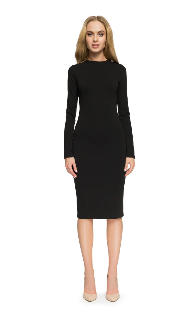 Black plain and simple tight fitted midi length dress by MOE