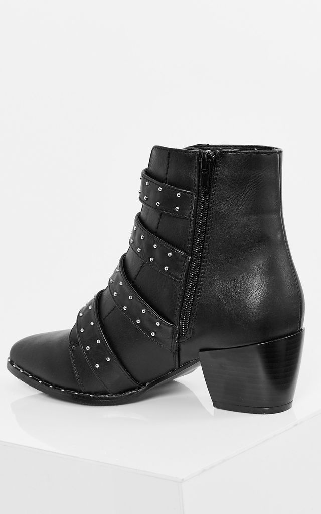 Black PU ankle buckle boots by Truffle Collection