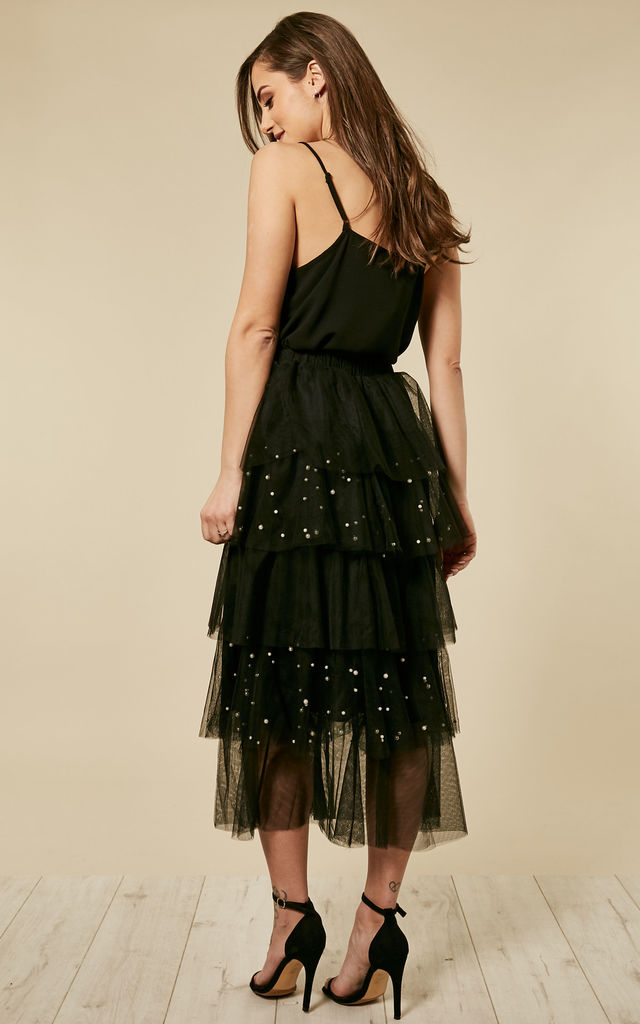 Embellished Pearl Tiered Tutu Midi Skirt Black by Amy Lynn