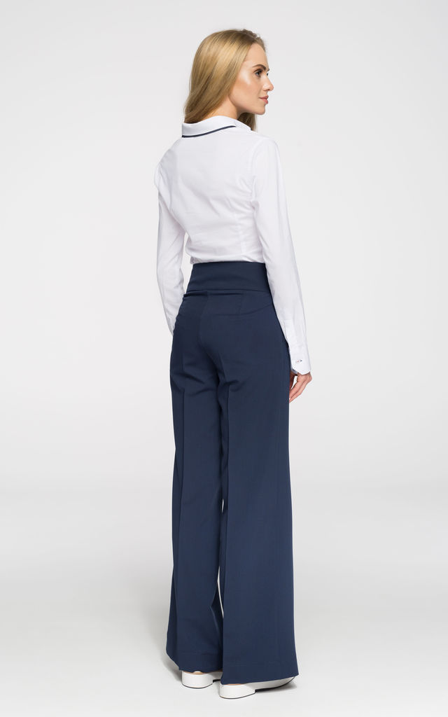 Navy blue high waist and creased wide-leg trousers by MOE