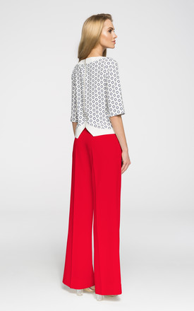 Red  high waist and creased wide-leg trousers by MOE