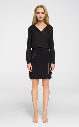 Black elegant sheer long-sleeve blouse by MOE