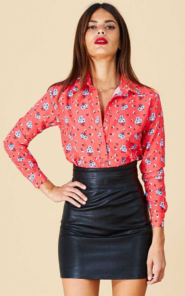 San Diego SHIRT IN RED DAISY by Dancing Leopard