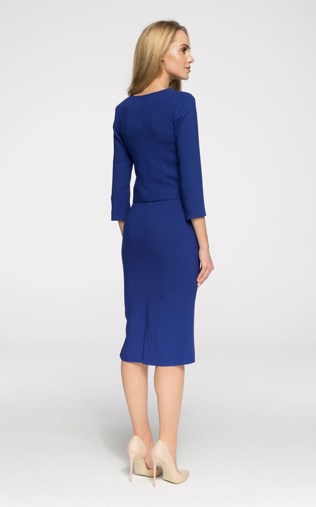 Royal blue tailored cropped blazer by MOE