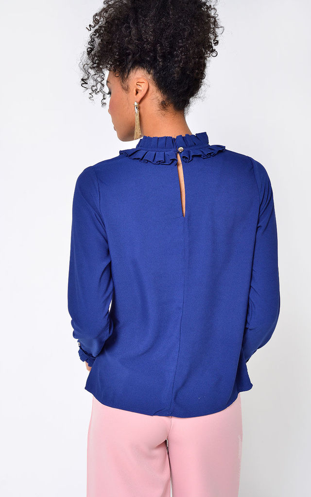 Piper Long Sleeve Frill Top in Navy by Marc Angelo