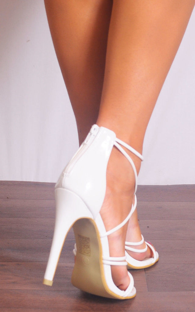 White Patent Barely There Curve Strappy Sandals Stilettos High Heels by Shoe Closet