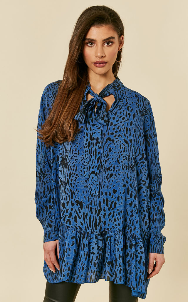 aae1132101 ... Royal Blue Leopard Print Pussybow Blouse by Lilah Rose ...