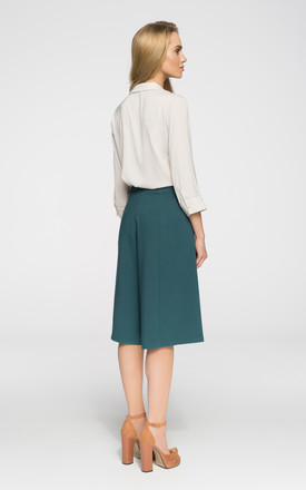 Green Culottes Knee Length Trousers Silkfred