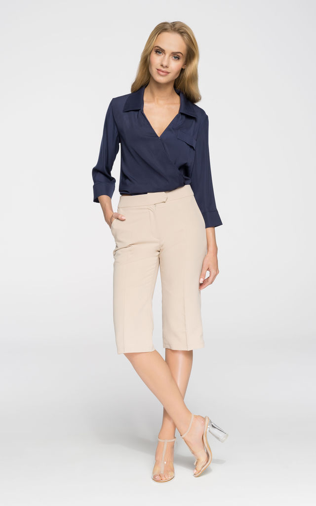 Navy blue light airy blouse with a collar by MOE
