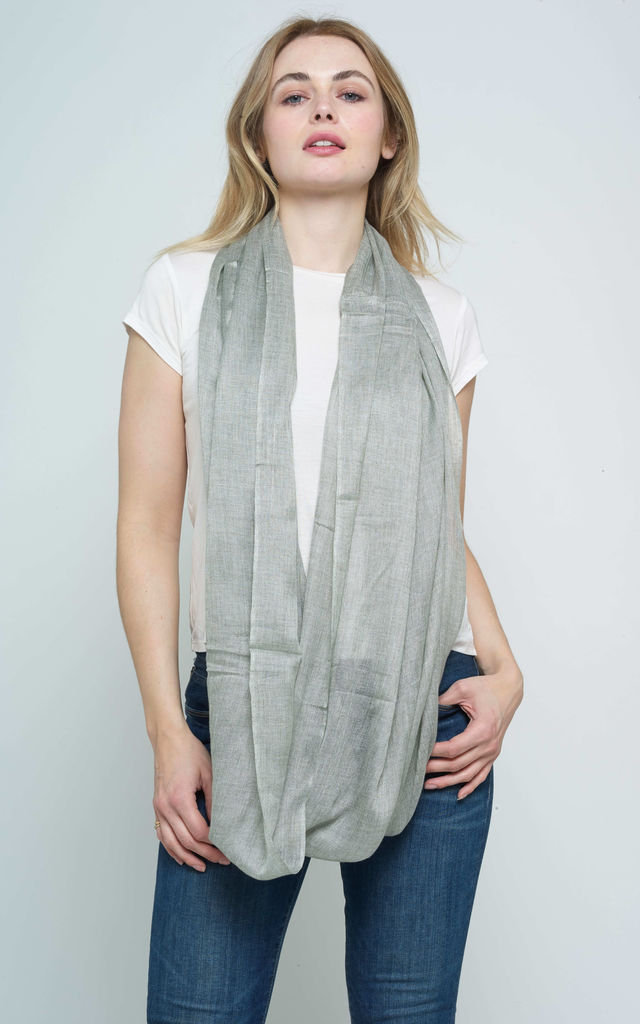WOOL MELANGE SNOOD ROUND STOLE WRAP GREY by Spiritual Hippie