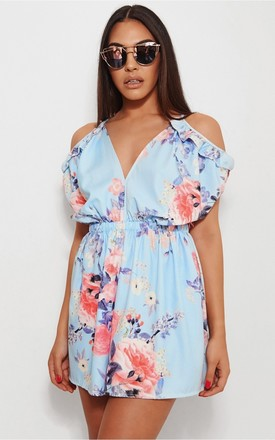 Milo Blue Floral Frill Playsuit by The Fashion Bible