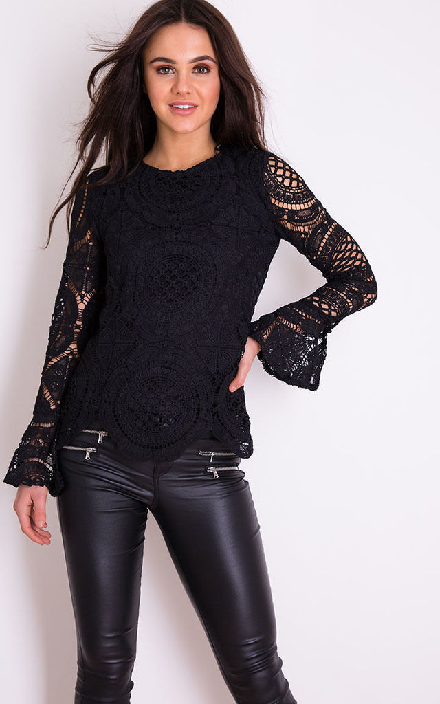 Poppy Crochet Lace Flute Sleeve Top Black by Girl In Mind