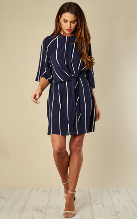 Navy Striped Tie Waist Mini Dress by AX Paris Product photo