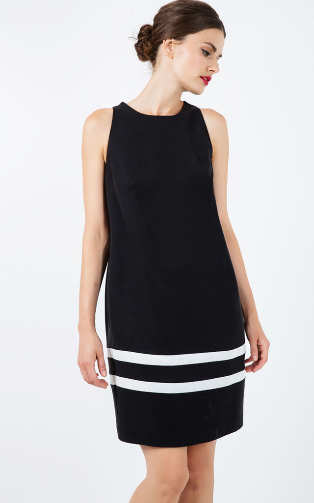 Black Sleeveless Dress with White Stripe Detail by Conquista Fashion