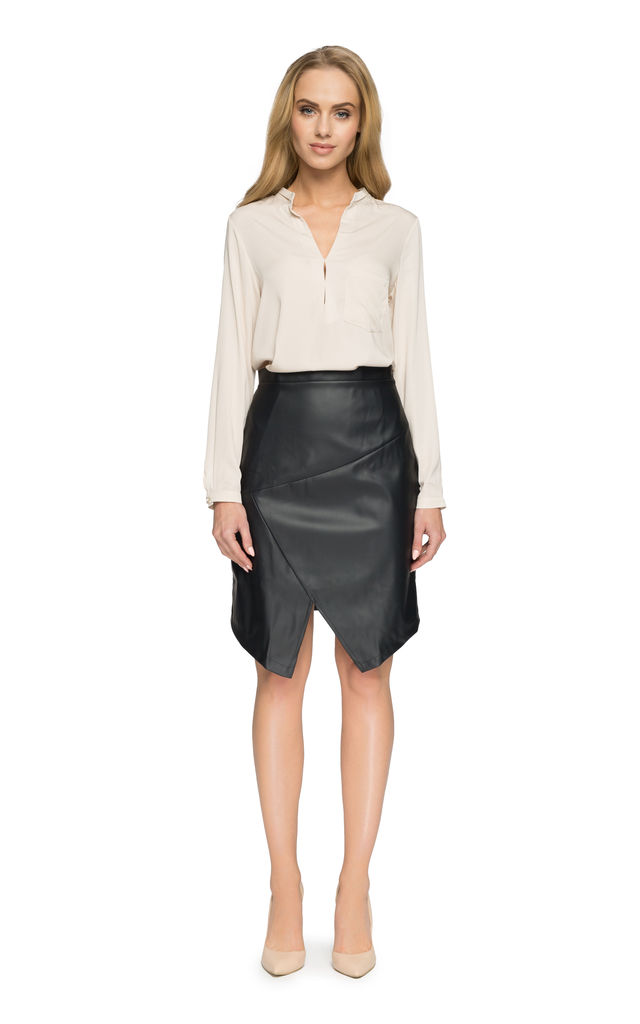 Black faux leather skirt with asymmetric hem by MOE