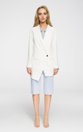Longline blazer with asymmetric hem in white by MOE