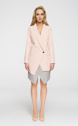 Powder very elegant long asymmetric front fully lined blazer by MOE