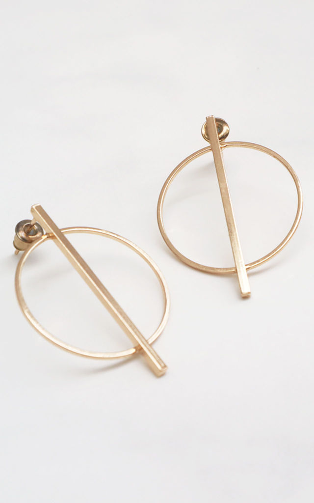 Small Stick Gold Circle Earrings by Rani & Co.